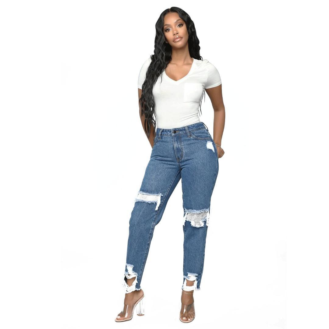 7bd982f0ca 2019 Fashion Hole Ripped Jeans Women Middle Waist Slim Pencil Pants Cool  Denim Casual Washed Jeans Feet Pants Trousers From Hannahao