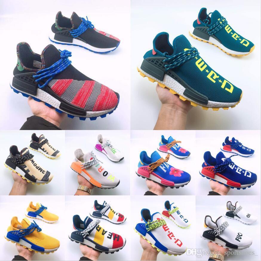 cf3b437108 Human Race Trail Designer Shoes Men Women Pharrell Williams HU Runner Yellow  Black White Red Green Grey Blue Sport Runner Sneaker 36 47 Womens Sandals  ...
