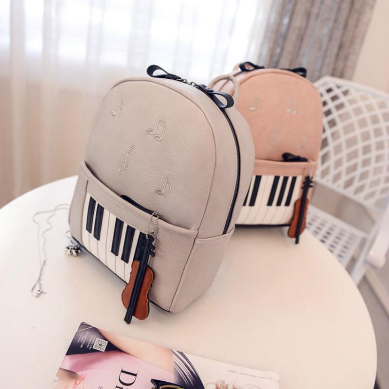 2018 New Arrive Hot Fashion Women PU Mini Backpack Piano Key Cute Cartoon Three Colors Note Decoration Mini Backpack