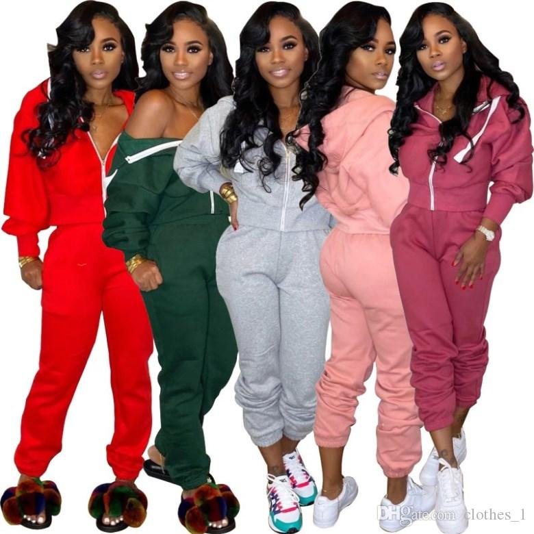 womens hoodie legging two piece set outfits long sleeve tracksuit jacket pants sportswear outerwear tights sports set hot klw2912