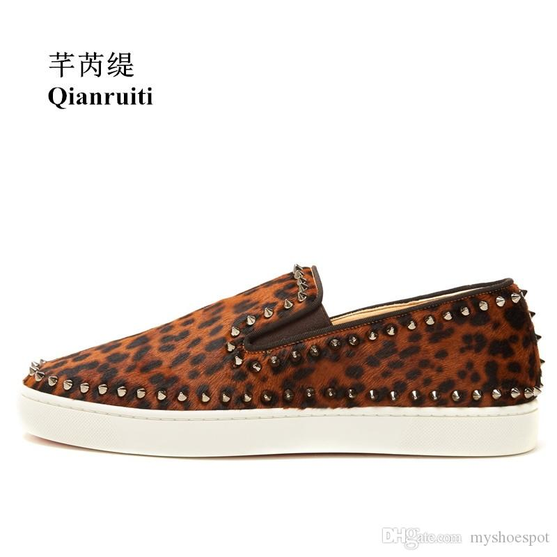 eaf33e49912 Qianruiti 2018 Spring Men Horsehair Shoes Leopard Rivet Flat Low Top Spike Sneakers  Slip On Men Runway Chaussures Hommes  54930 Formal Shoes Shoe Shops From ...