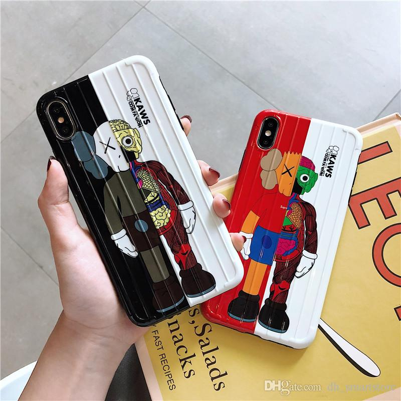 Suitcase Luggage KAWS dolls phone case for iphone 11 pro 6 7 8 plus X XR XS MAX Popular Super cute Travel Bag Handbag Anti knock Cover