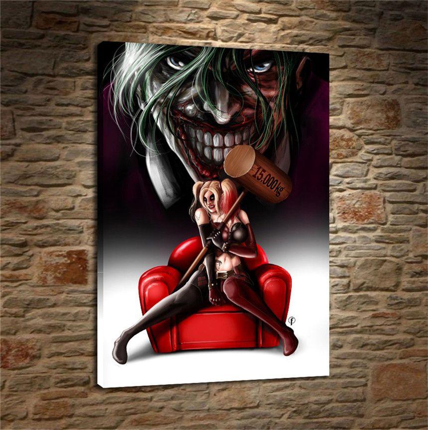 Satın Al Harley Quinn Et Joker Hd Tuval Baskı Ev Dekor Sanat