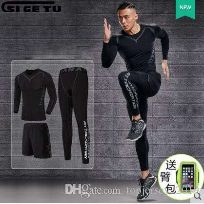 Men s Training Training Gym Wear Sets Pants T Shirts Sportswear Apparel 3PcS SET Basketbal Combinado Send arm bag #265629