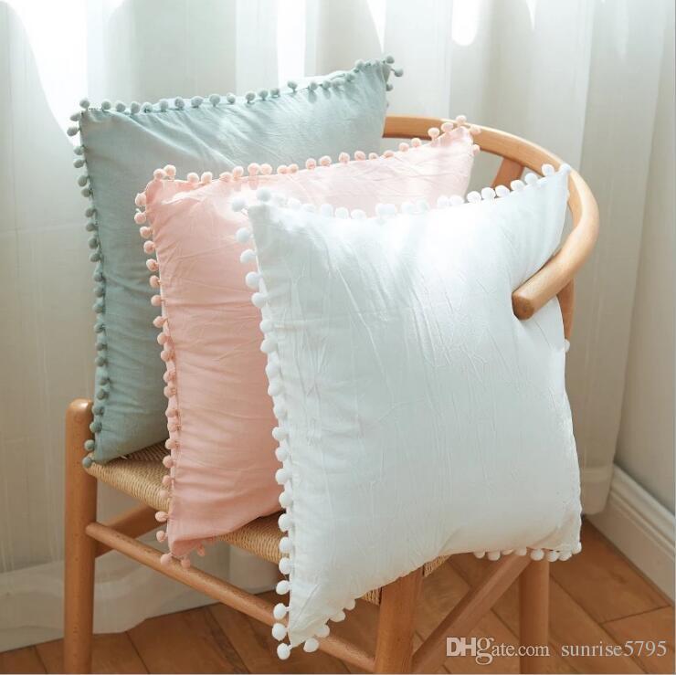 8d01e5b15389fd Pompom branco capa de almofada de tecido de algodão rosa salão chaise throw  pillow case cinza cojines decoração moderna casa decor