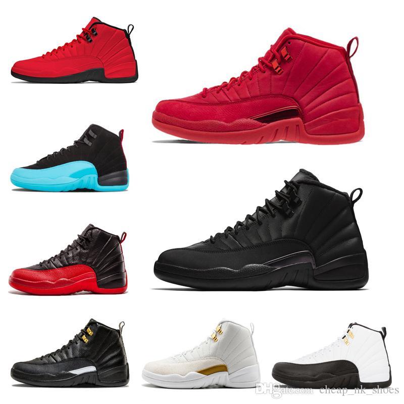 dbf92031b22 Acquista Nike Air Jordan Retro 12 Nuovo 12 12s Bulls Palestra Red Uomini  Donne Basket Scarpe UNC Taxi Nubuck College Navy Flu Gioco Francese Gamma  Blu ...