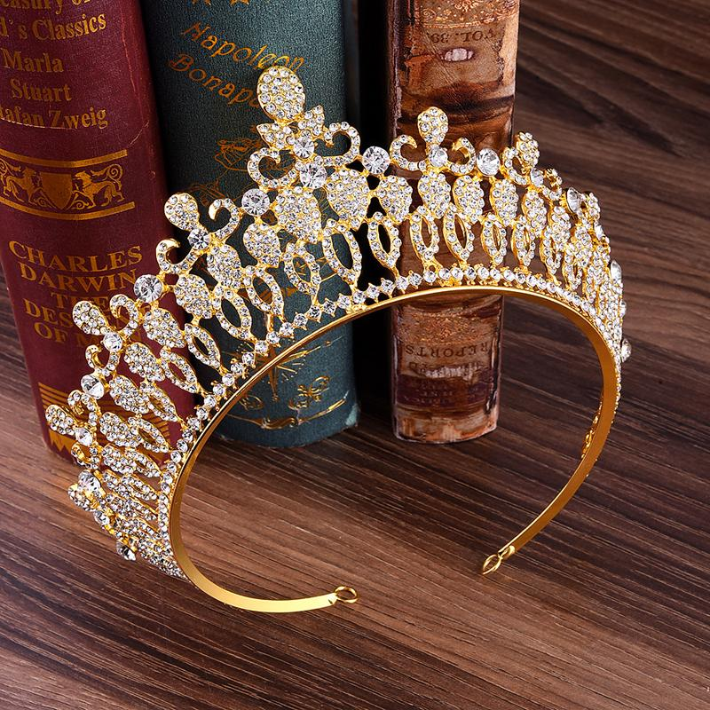 Hair Jewelry Fashion Big Hollow Crystal Wedding Diadem Rhinestone Queen Tiaras And Crowns Headbands For Bride Hair Jewelry Accessories