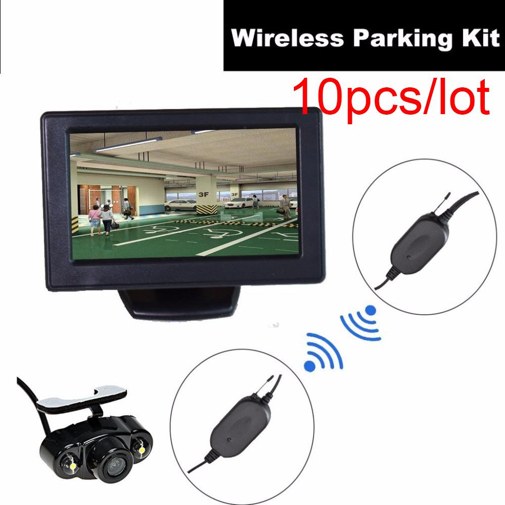 10pcs Automobile Wireless Backup Camera+4.3 inch Dash LCD TFT Monitor Reverse Parking Kit Assistance Rear View LED Night Vision car