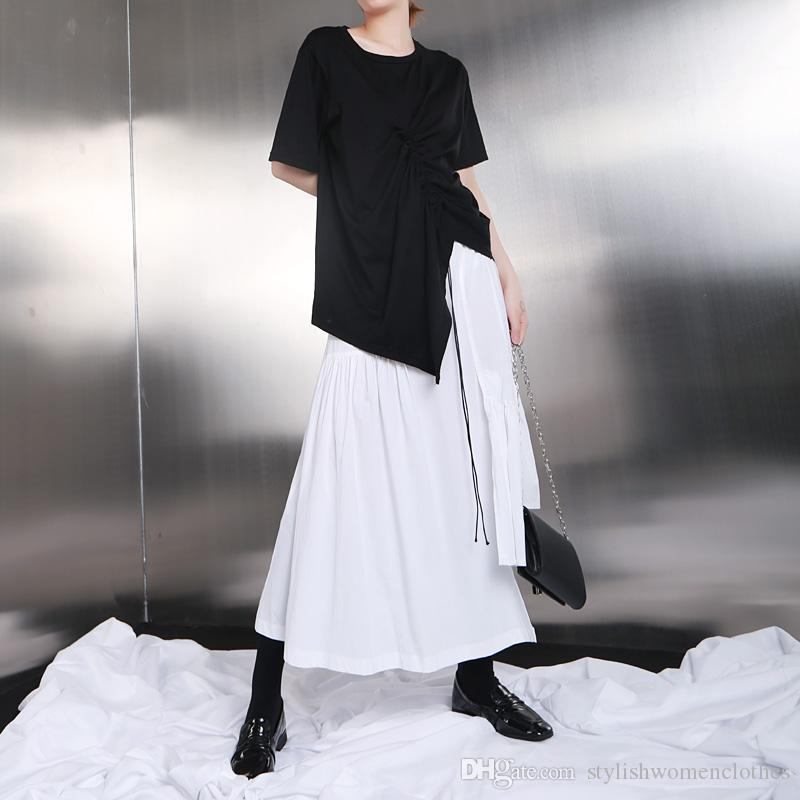 New 2019 Korean Style Women Summer Solid White Long Asymmetrical Skirt Stretchy Waist Ruffles Female Casual Street Skirts F709