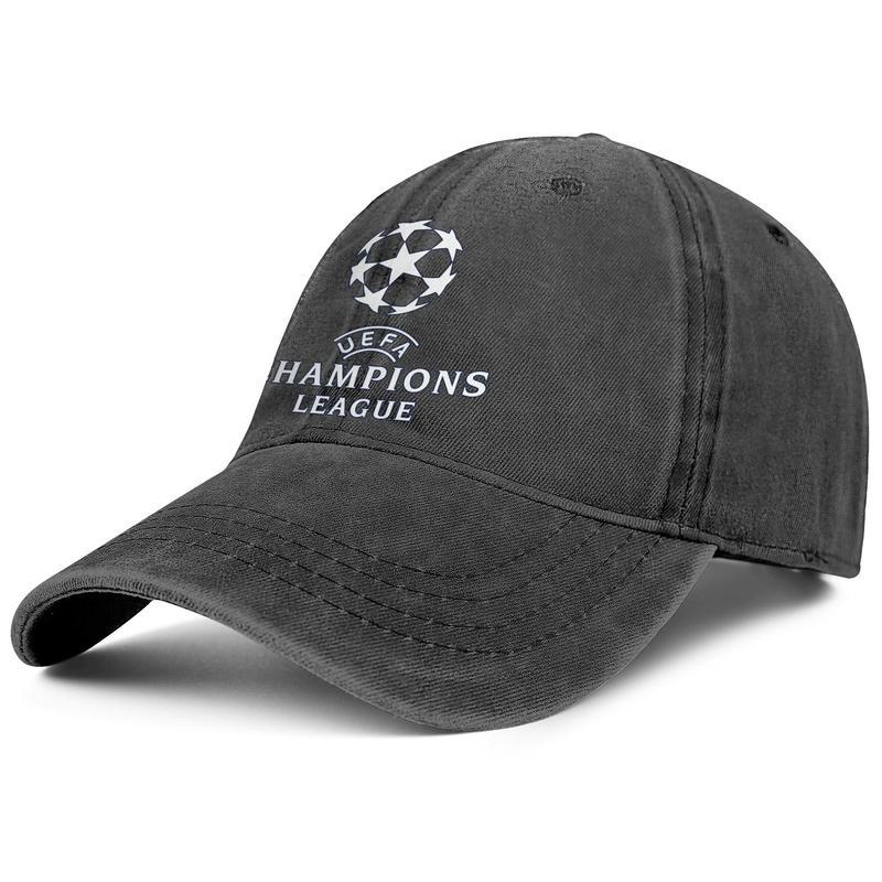 Womens Mens Washed Cap Hat Flat-along Adjustable UEFA Champions League UCL Pure White Punk Hip-Hop Cotton Baseball Cap Summer Travel Hats Mi