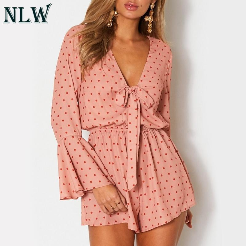 b4962a49ff2 NLW Polka Dot Lace Up Jumpsuit Women 2018 Autumn Playsuit Flare ...