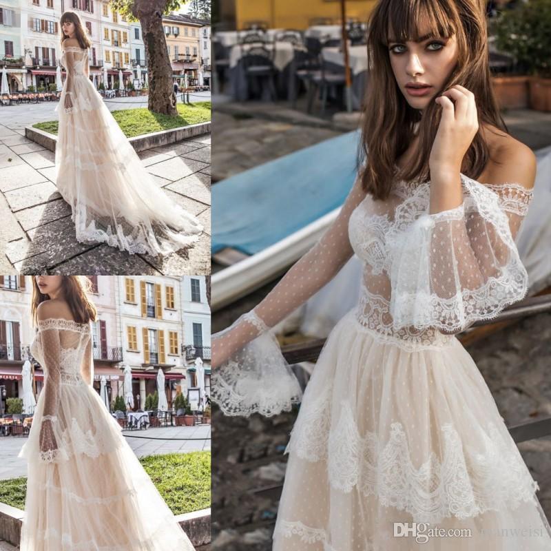 Discount Summer Beach 2019 Bohemian Wedding Dresses Long Sleeves Off  Shoulder France Lace Princess Church Country Bridal Gowns Vestido De Noiva  Wedding ... a22735314d6d
