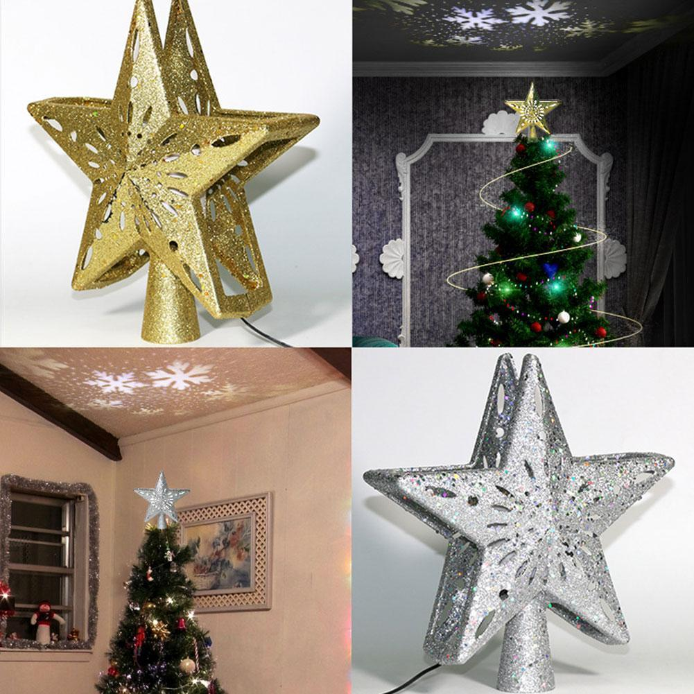 Christmas Tree Top Light 3D Star Shape LED Rotating Snowflake Projection Light RGB Laser Projector Lights Christmas Tree Decor 4