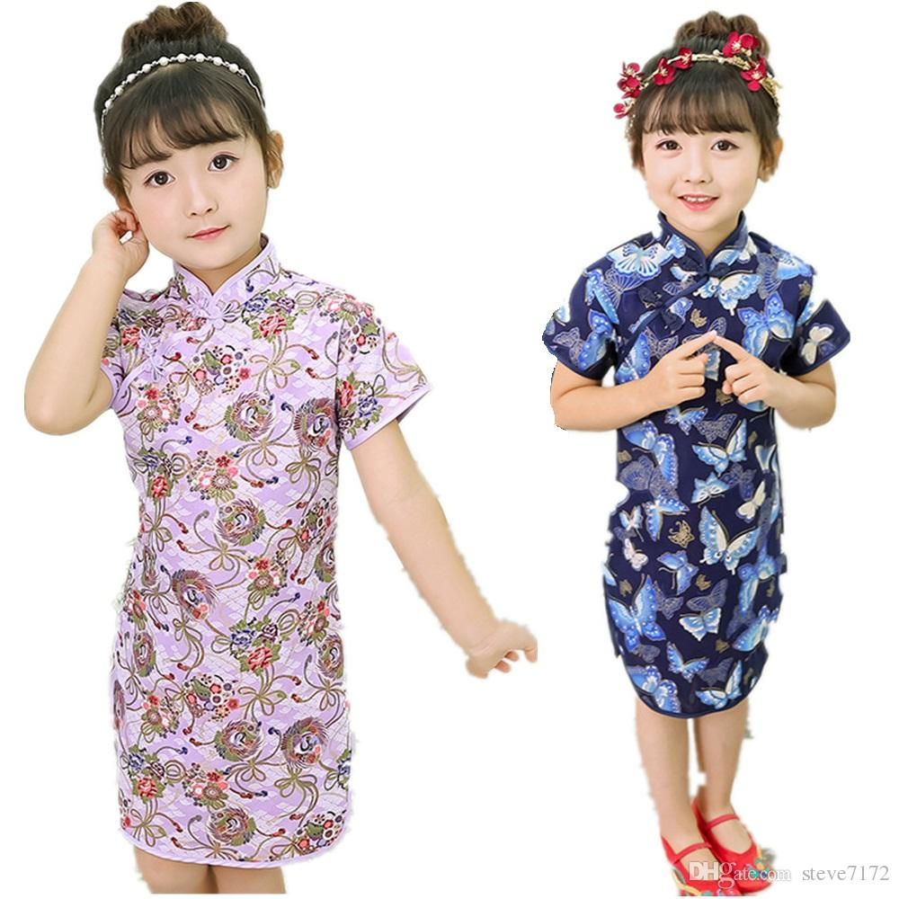 95f4bb098 2019 Baby Girl Slim Dress Children Chinese Traditional Clothes Floral Girl's  Cheongsam Party Chi-Pao Dress Qipao Wedding Dresses