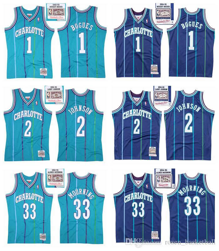sale retailer eaf10 91a96 Retro Charlotte Hornet Basketball Jersey 33 Alonzo Mourning 2 Larry Johnson  1 Muggsy Bogues 30 Dell Curry Mitchell&Ness HWC Swingman Jersey