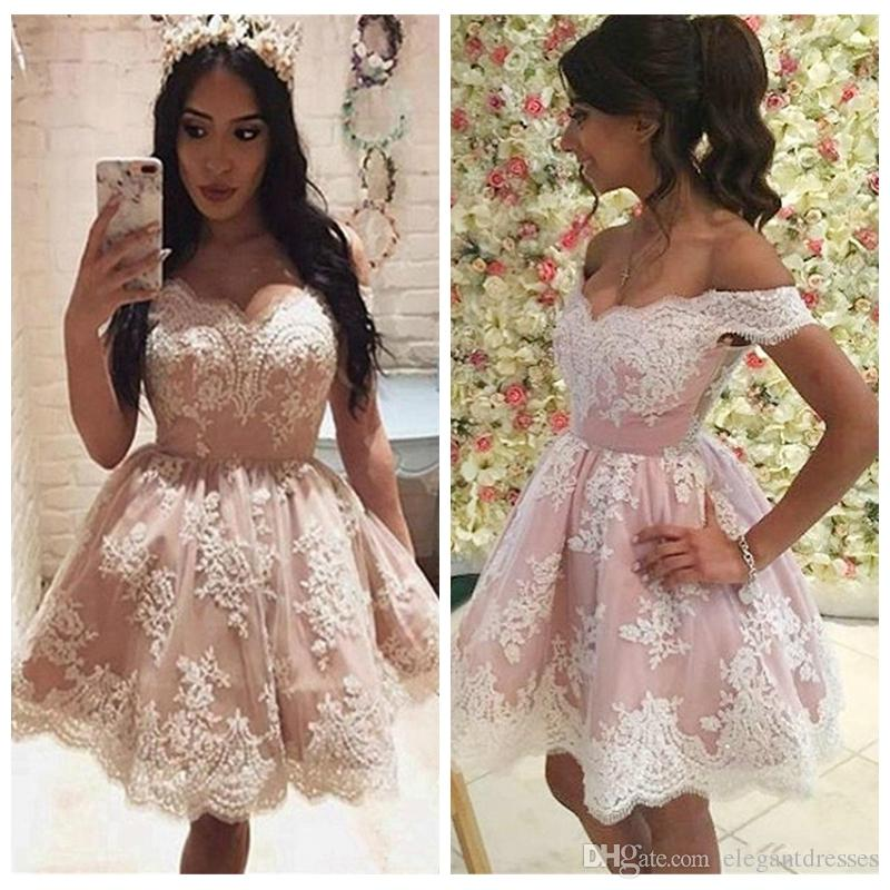 2255fd4b8e Off Shoulder Lace Appliques Short Homecoming Dresses 2019 Formal Vestidos  De Graduations Party Gowns Junior Cheap Prom Party Gowns Formal Homecoming  Dresses ...