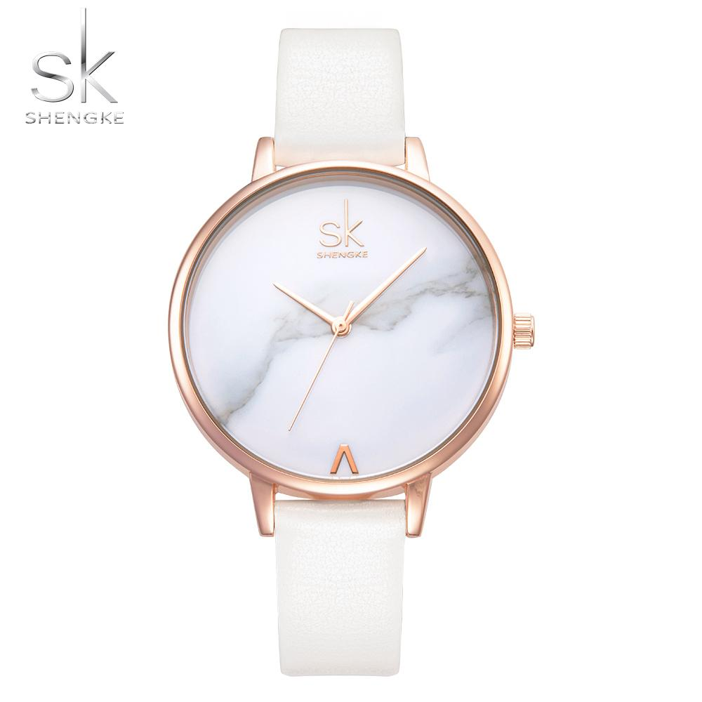 Shengke Top Brand Fashion Ladies Watches Leather Female Quartz Watch Women Thin Casual Strap Watch Reloj Mujer Marble Dial SkSH190724