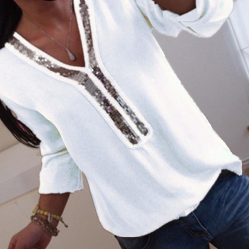 430d93f3836a Compre Sexy Lantejoula Pescoço V Outono Blusa Camisas Sólida Camisa De  Costura Preto Branco De Manga Longa Mulheres Tops Túnica Femme Blusas  Feminino De ...