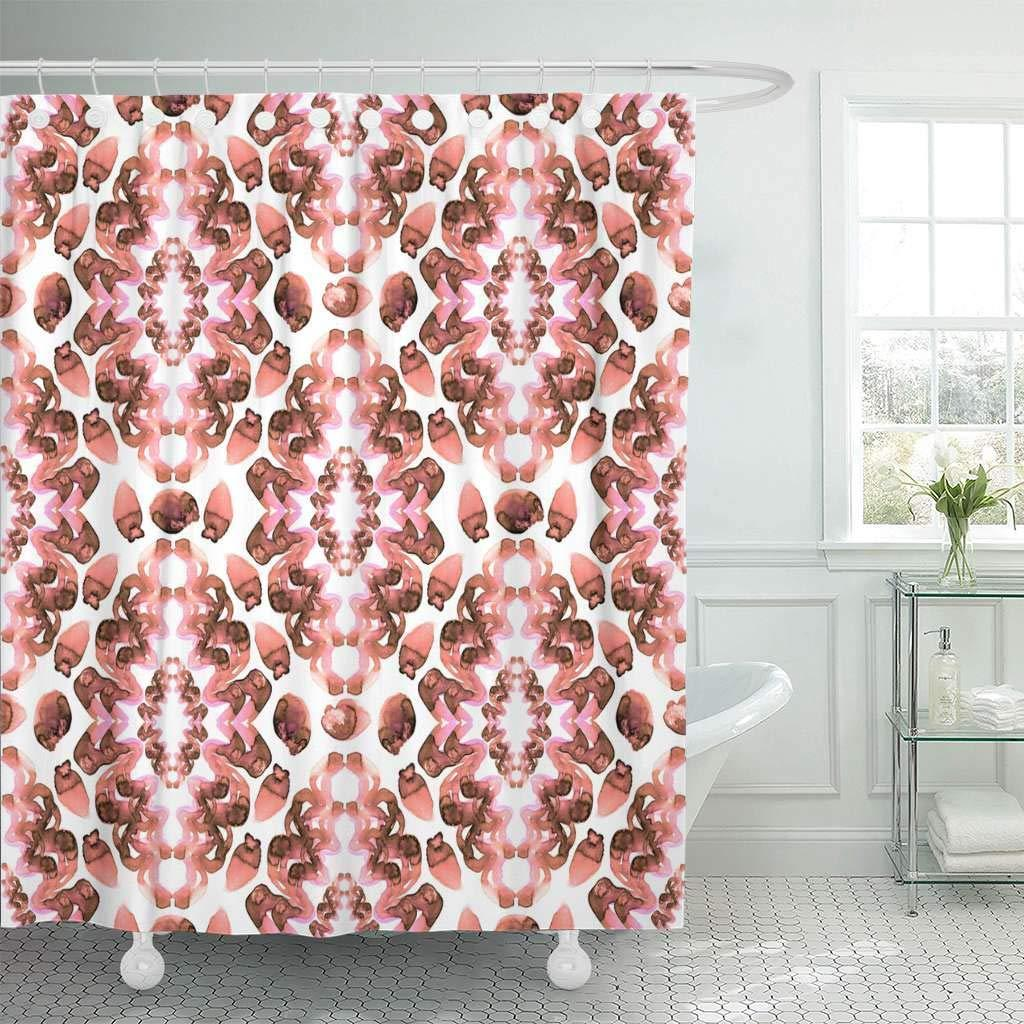Shower Curtains Pink And Brown.2019 Shower Curtain With Hooks Brown Abstract Watercolor Pink Arabic