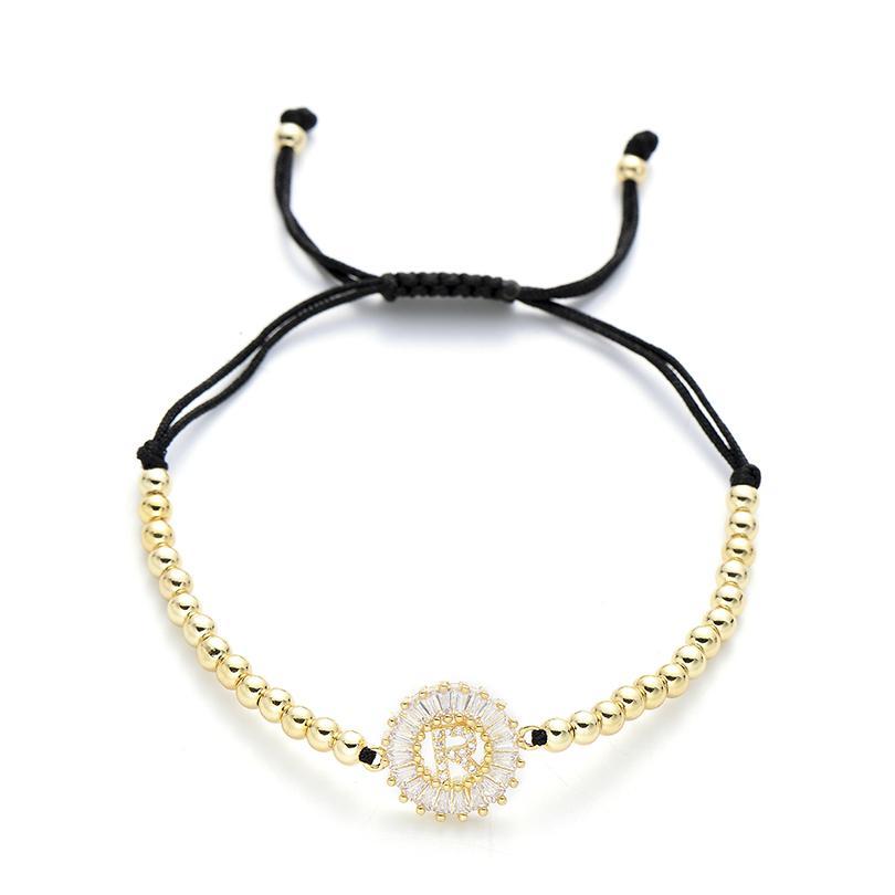 Pipitree Cubic Zirconia 26 Alfabeto Lettera iniziale Charm Bracciali Uomo Donna 4mm rame Perline Bracciale Macrame Jewelry R-T