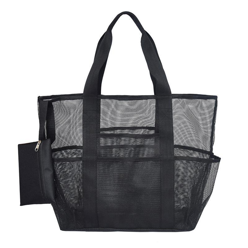 Mesh Beach Travel Bag Large Capacity Storage Totes Bags For Towels Water Bottles Swimming Suit Outdoor Toys Beach Black Bag Tote