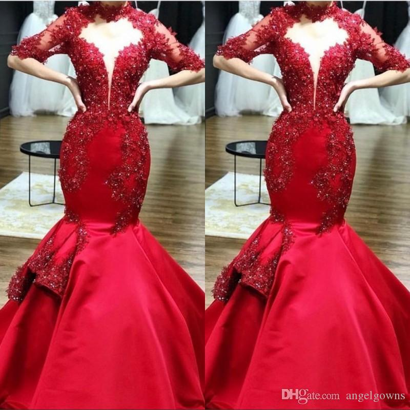 2019 Red High Neck Mermaid Evening Dresses Lace Applique Half Sleeves Beaded Prom Party Gowns Illusion Keyhole Trumpet USA Pageant Dress