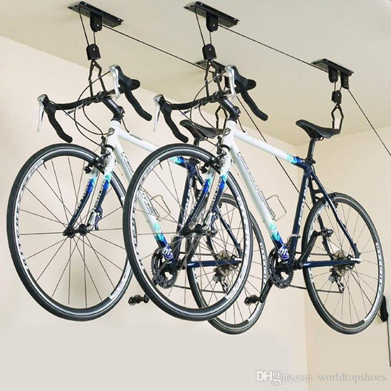 04ec4237d Compre 2018 Elevador Da Bicicleta Montado No Teto Elevador Da Grelha De  Armazenamento Da Garagem Da Bicicleta Cabide De Parede Rack De Teto Do  Telhado Rack ...