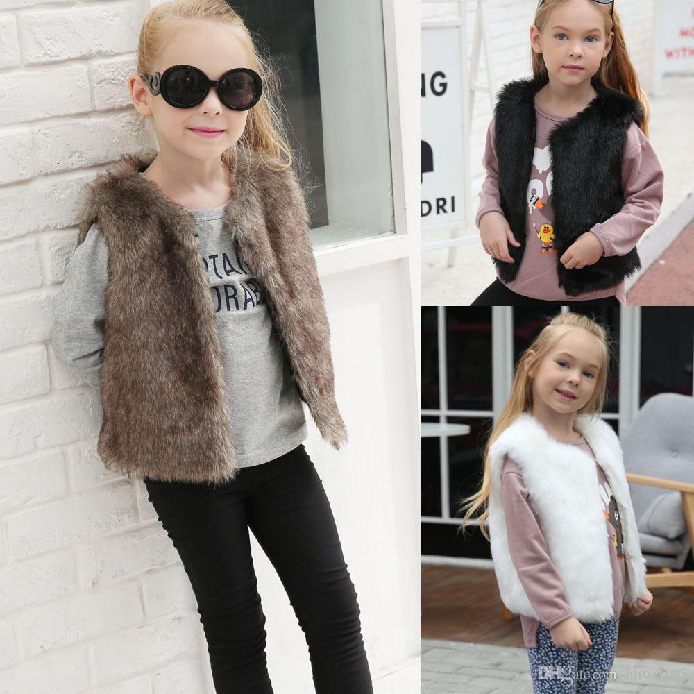 b1a8aa800 2019 Girls Faux Fur Vest Waistcoat Fashion Kids Children Winter Wool ...