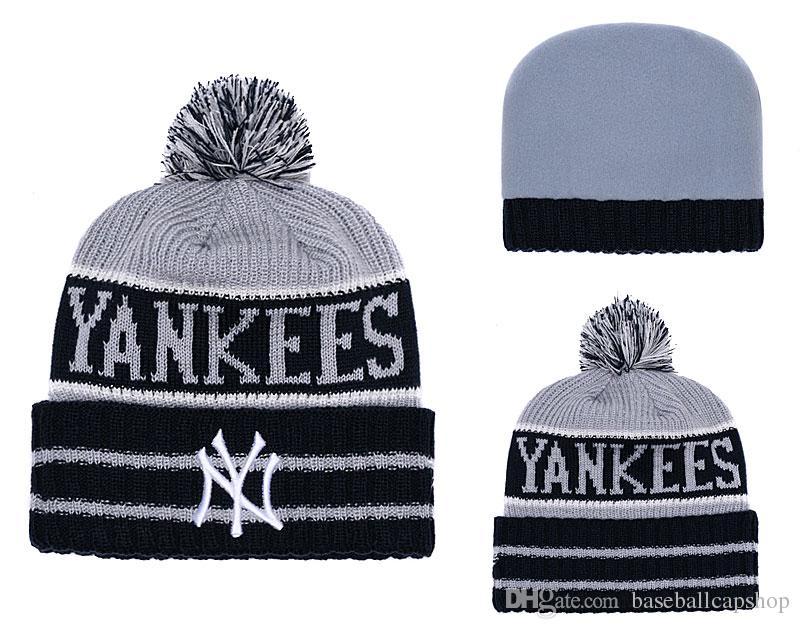 NEW Men s New York Yankees Knitted Cuffed Pom Beanie Hats Striped Sideline  Wool Warm Baseball Beanie Cap Men Women Bonnet Beanies Skull Hat Beanie Hats  ... 8d83ad033aa