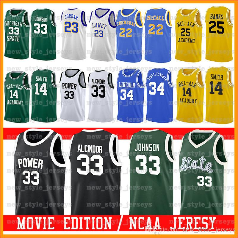 Maglia da film Bel-Air Academy 25 Carlton Banks 14 Will Smith LANEY MICHAEL Michigan State Spartans 33 Earvin Johnson College Basketball z1