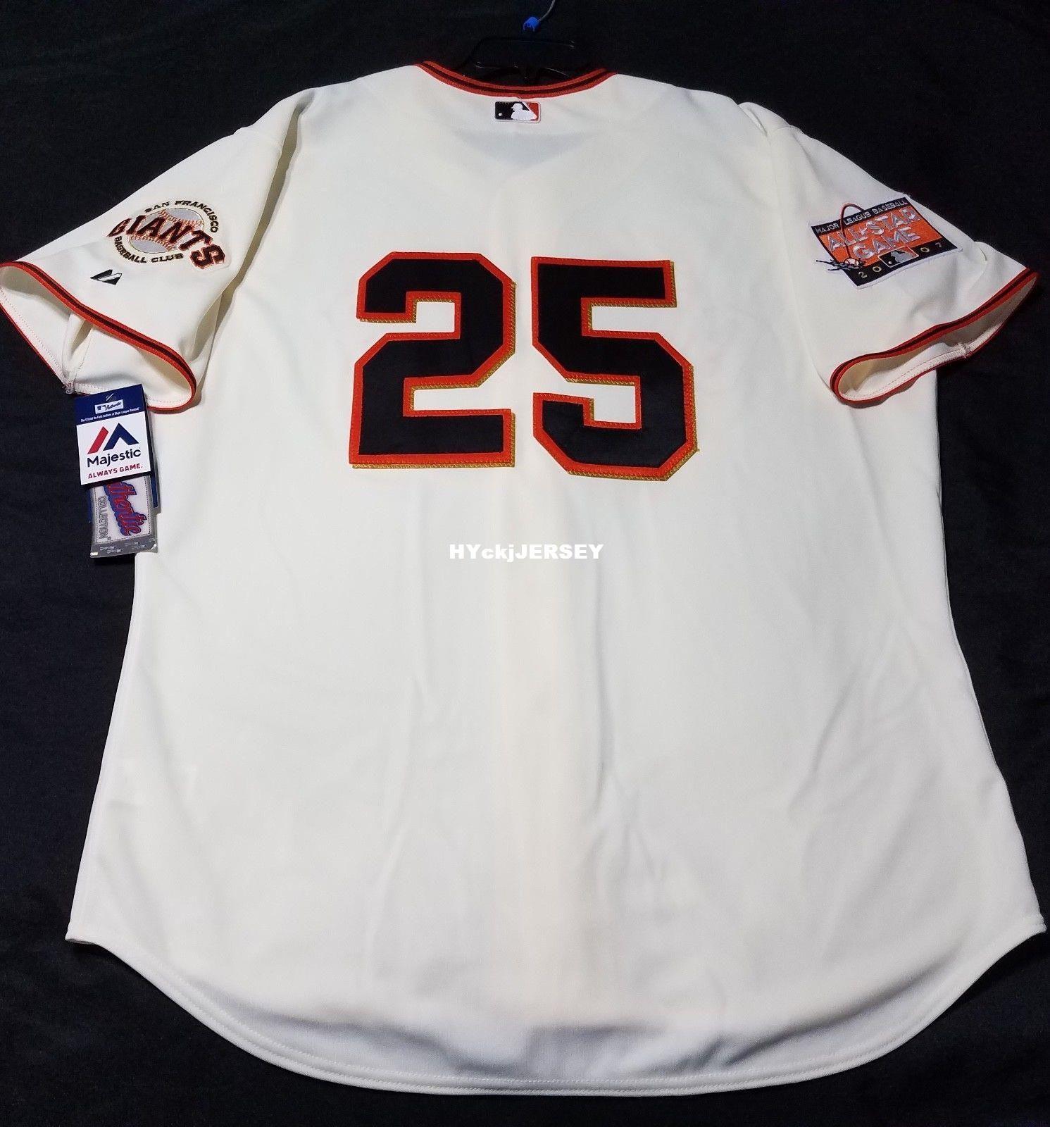 ab55fad84b4 2019 Cheap Majestic SAN FRANCISCO  25 BARRY BONDS IVORY ONFIELD Jersey Mens  Stitched Wholesale Big And Tall SIZE XS 6XL Baseball Jerseys From  Hyckjjersey