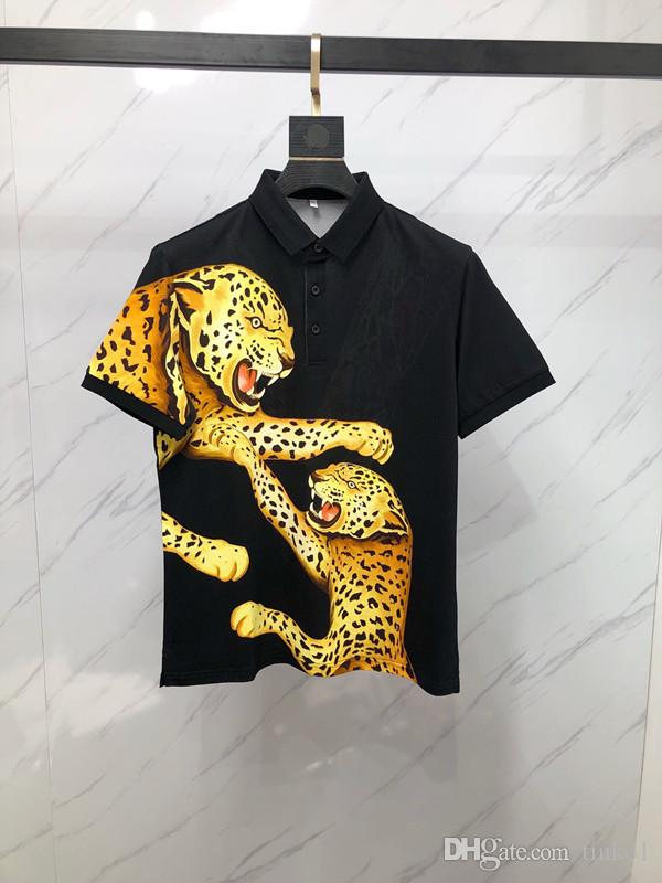 2019 Breathable Men's Polo Shirt For Men Desiger Polos leopard Pure color high-grade Men Quick drying Short Sleeve shirt Clothes jerseys