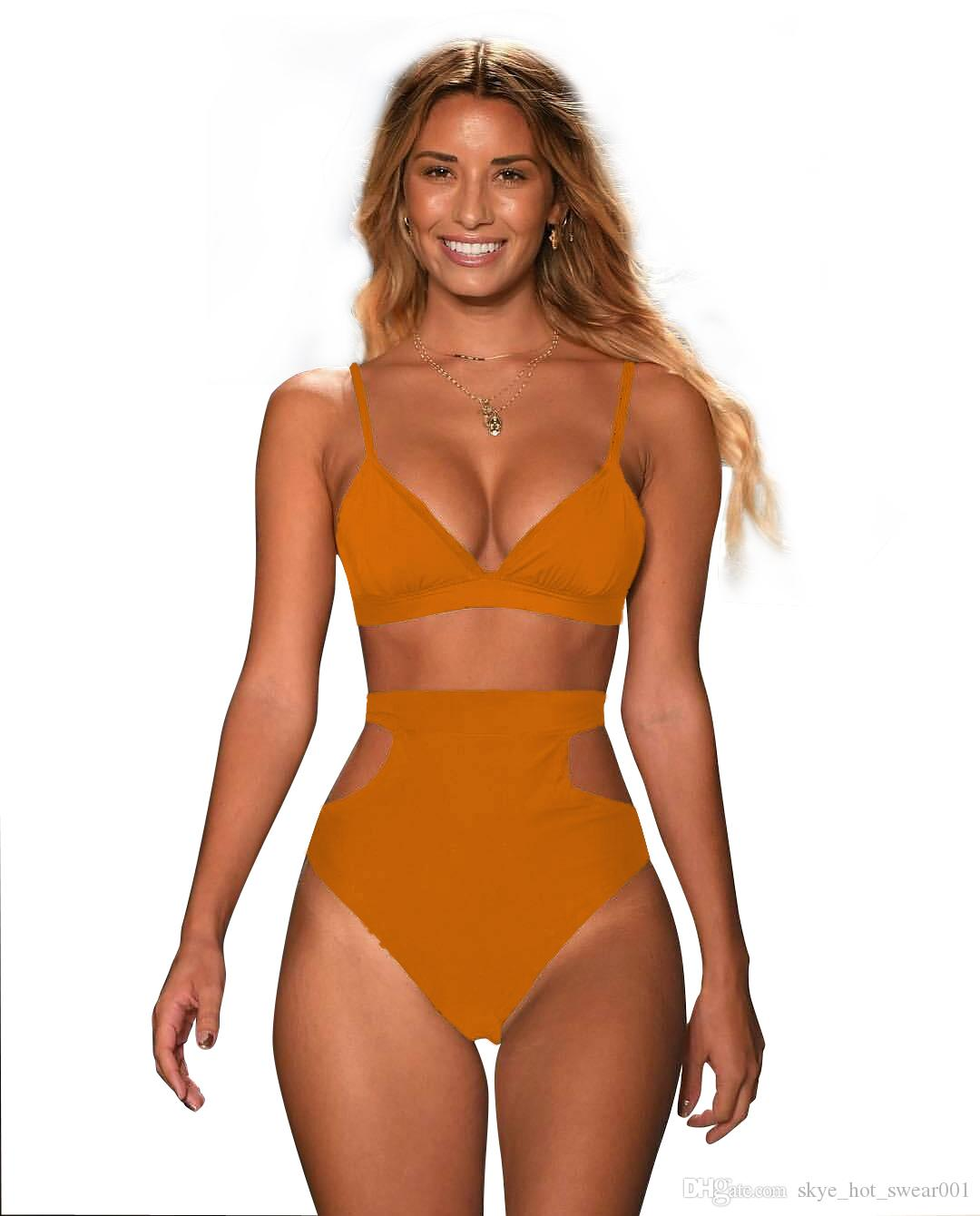 Very Popular Multi-color high waist slim Sexy ladies split swimsuit New nylon fabric solid color women swimwear Europe and America bikini