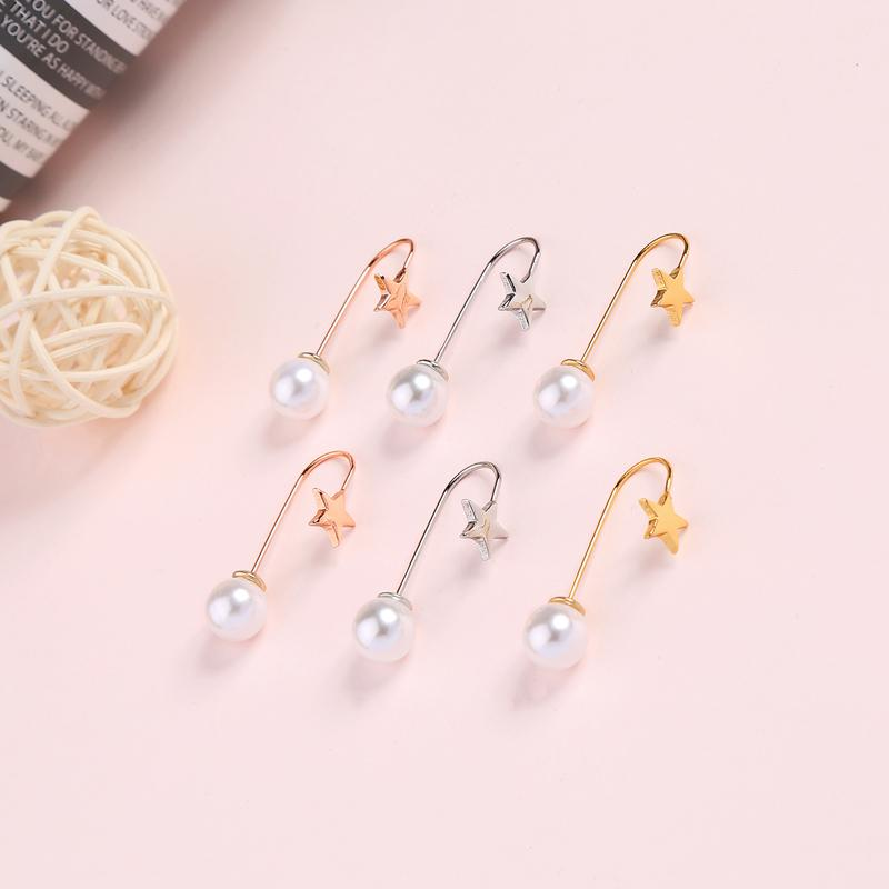 Contracted Acrylic Pearl Three-color Brass Star Stud Earrings For Women Gifts Fashion Jewelry Accessories Dropshipping
