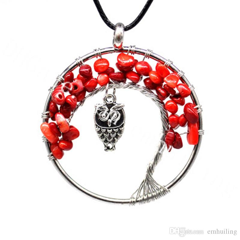 10Pcs Tumbled Coral Beads Bonsai Tree of Life Pendant Necklace with Lucky Owl Charm Silver Plated Wire Wrapped Healing Reiki Yoga Jewelry
