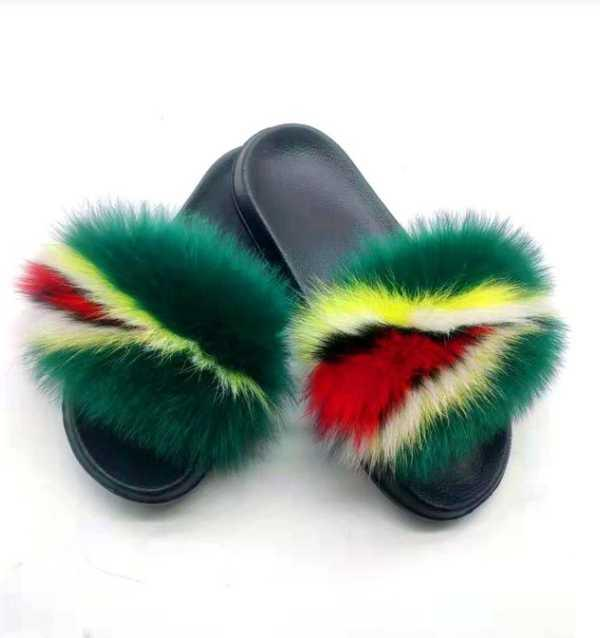 New Women's Real Fur Slippers Home Furry Shoes Fluffy Plush Sandals Soft And Comfortable EVA Sexy Flip Flops Size 36-45