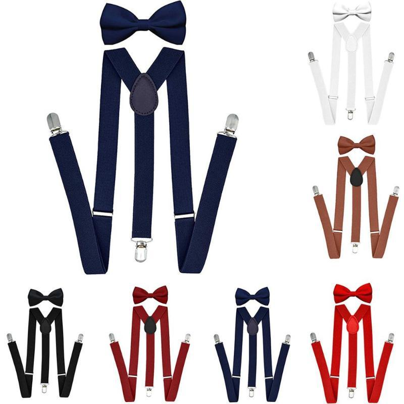 Suspenders Bow Tie Set Men Fashion Suspensorio for Man Boy Women Bowtie Braces Trousers Tirantes Wedding Leisure Shirt Stays A40