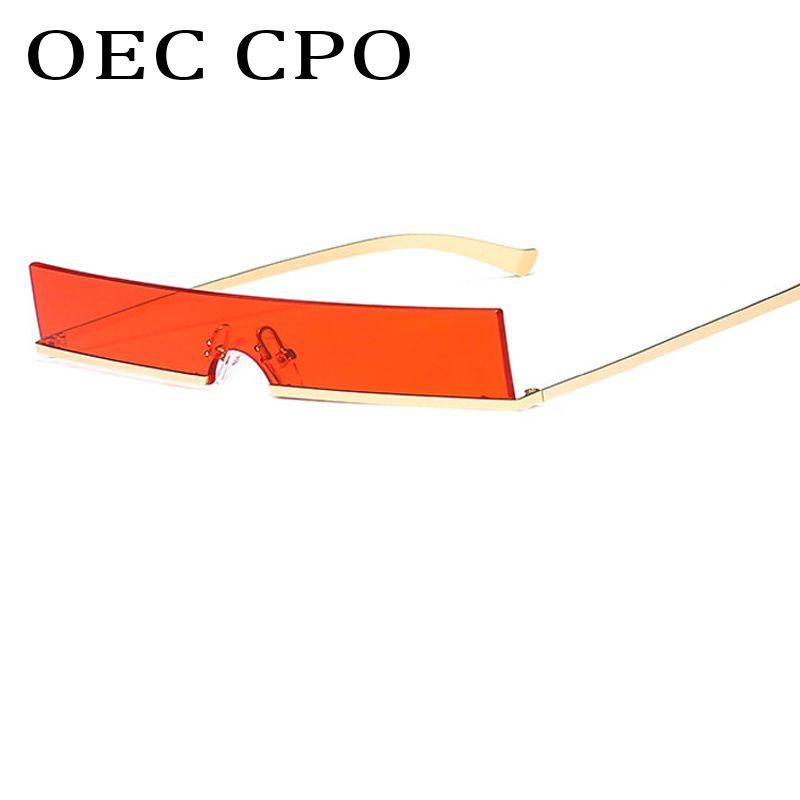 f1470f7ae6c7b Compre OEC CPO 2019 Novas Mulheres Do Vintage Pequeno Quadrado Óculos De Sol  De Luxo De Metal Metade Quadro Óculos De Sol Da Marca Designer Óculos De Sol  ...