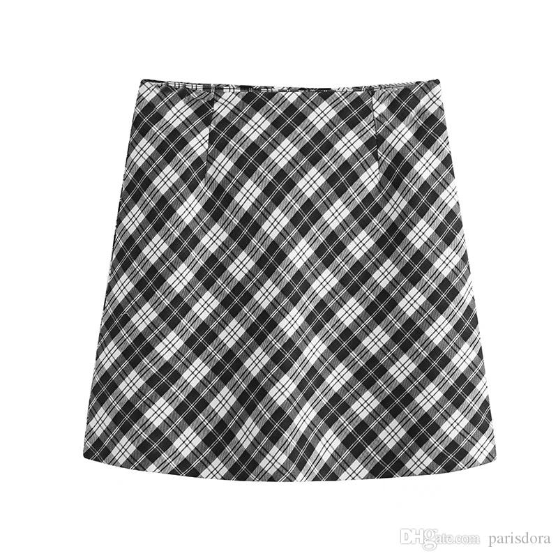 d3eb6932d Autumn 2018 New Women Loose Slim Chic Casual Casual Fork Lattice Skirt Skirt  A Word Skirt Skirts Online with $34.29/Piece on Parisdora's Store |  DHgate.com