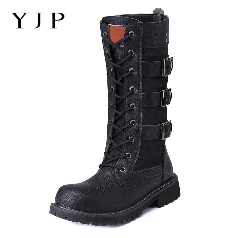 566f6a5a6 YJP PU Leather Motorcycle Boots Men Shoes Spring Autumn Lace Up Mid Calf  Boots Three Buckle High Top Man Casual Shoes Booties Designer Shoes Rain  Boots For ...