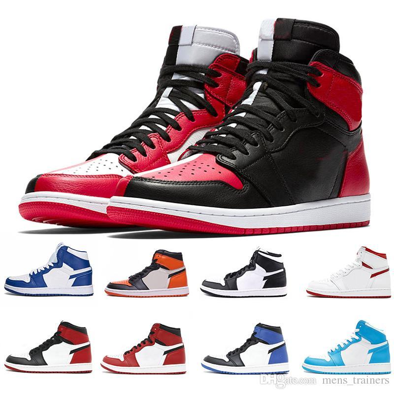 hot sale online e6440 4b590 Top OG 1 Gold Top 3 Black Toe Bred Banned men basketball shoes 1s Bred Toe  Chicago Metallc Red New Love sneakers