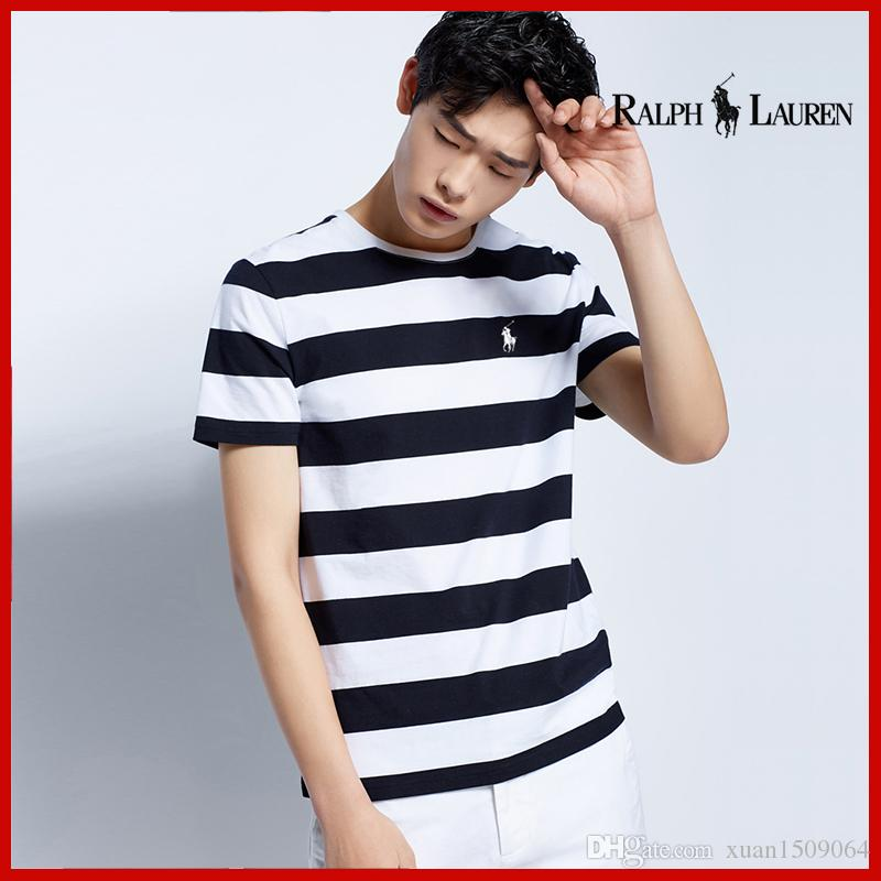 Summer popular men's black and white striped short sleeve T-shirt thin Hong Kong style loose men's half sleeve T-shirt