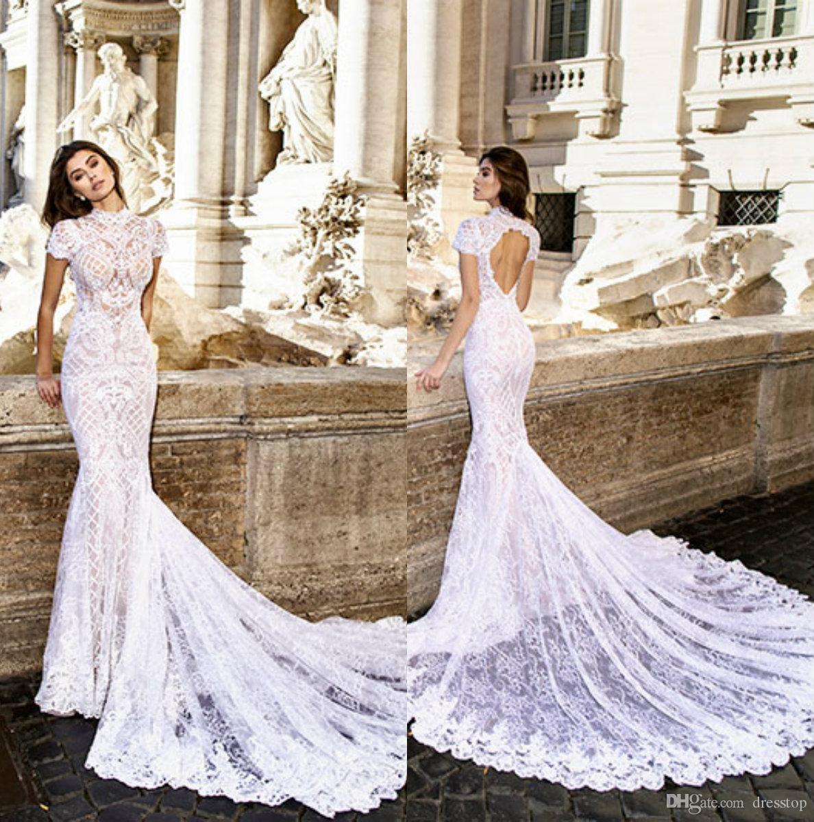 059e81ffd9 Elegant Mermaid Wedding Dresses High Neck Keyhole Back Full Lace Bridal  Gowns Sweep Train Illusion Short Sleeves Formal Wedding Dress Beautiful  Lace Wedding ...