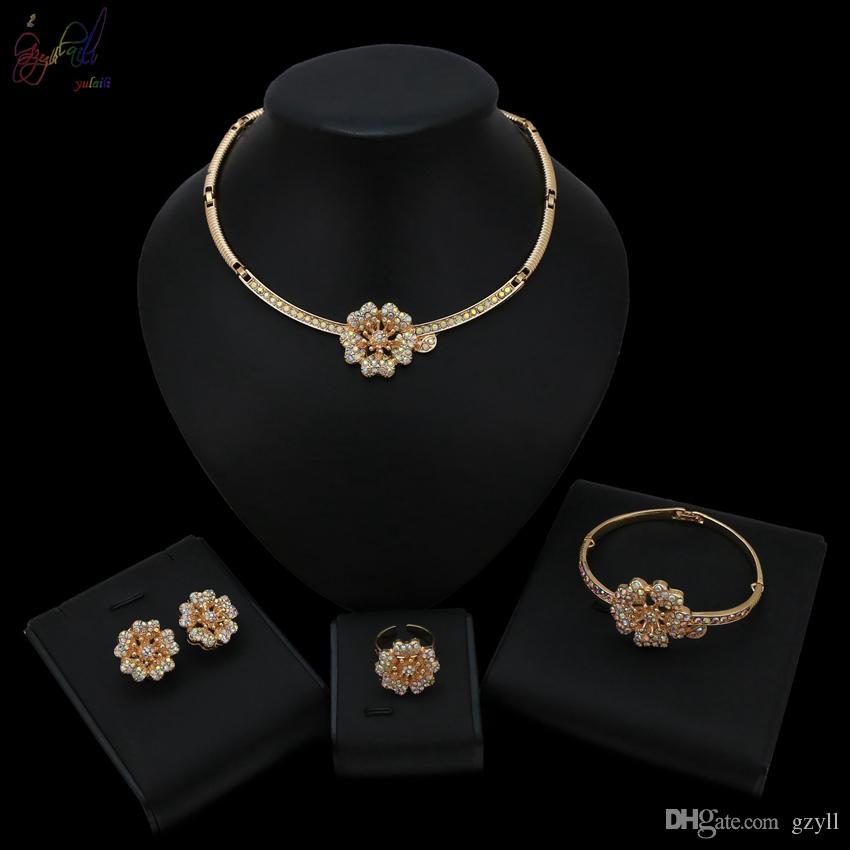 Yulaili Rainbow Flower Crystal New Arrival Top Quality Design with Wholesale Price Jewelry Set For Nigerian African Women