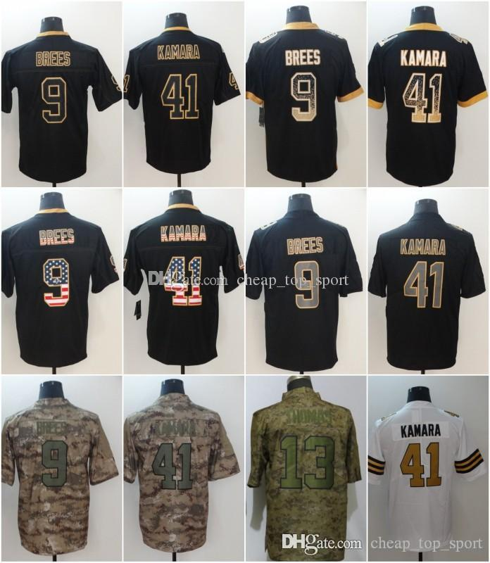 7cd25596752 2019 Drew 9 Brees New Orleans Jerseys Alvin 41 Kamara Saints 2018 USA Flag  Lights Out Black Rush Drift Camo Salute To Service Olive Limited From ...