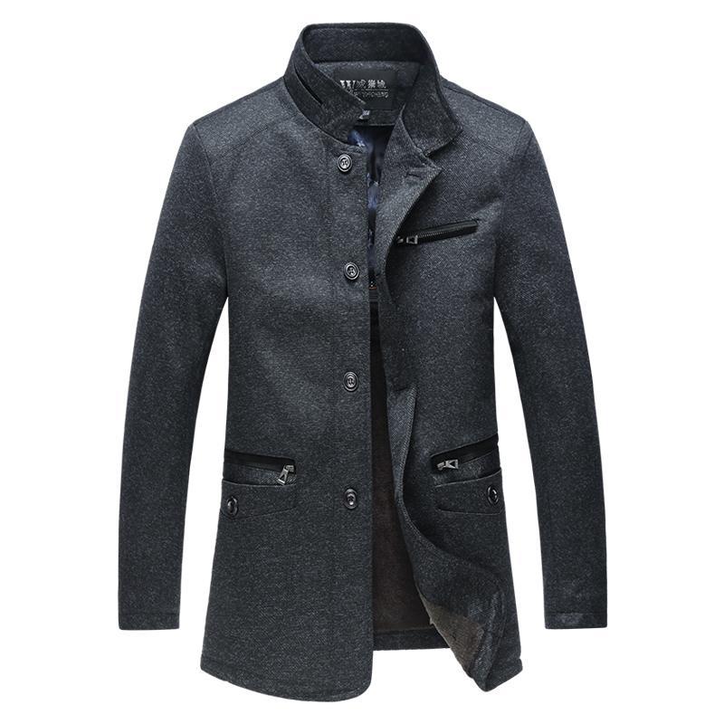 Trench Solide Montant Coat Automne Hommes Hiver Homme Casual Hommes Veste Poche Col Long Manteau Laine Coupe En Vent Manteau Mâle 5XL shtQCrdx