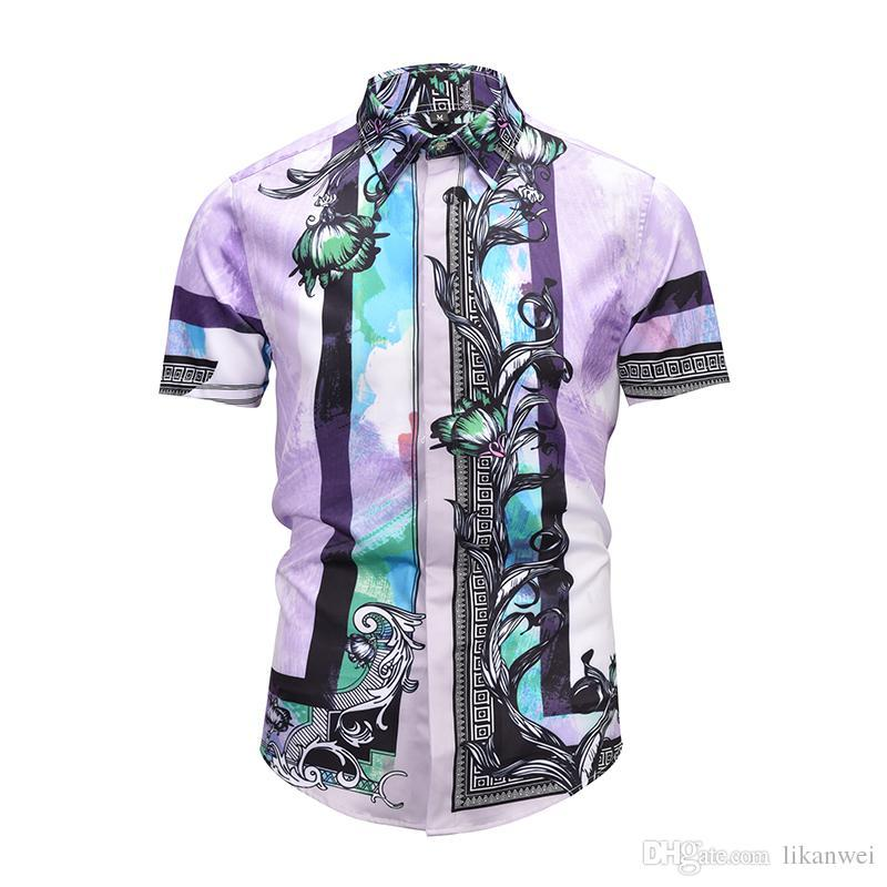 Latest product summer Fashion Men Colthes Slim Fit Men short Sleeve Shirt Medusa Mixed color flower Men Casual short Sleeve purple Shirts