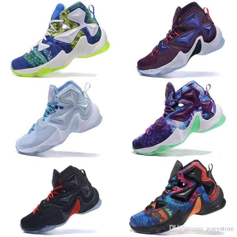 bf828ec8ef 2019 New Lebron 13 XIII Ashes Oreo Outdoor Shoes Flowers And Blue ...