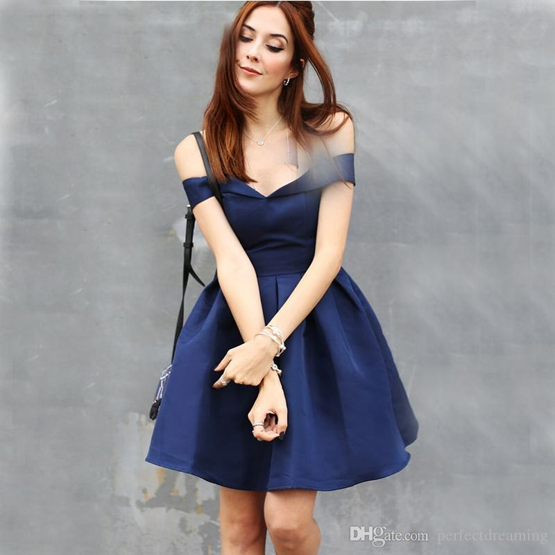79a0be18e6c Navy Blue Short Satin Cocktail Dresses Fashion Designer Off The Shoulder  Above Knee Length Lady Style Party Dresses For Special Occasion Funky  Cocktail ...