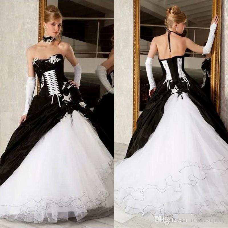 2019 Vintage Black And White Ball Gown Wedding Dresses Strapless Backless Corset Victorian Gothic Plus Size Wedding Bridal Gowns
